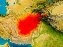L'Afghanistan sur la carte physique Photo libre de droits