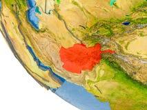 L'Afghanistan sur le globe Image stock