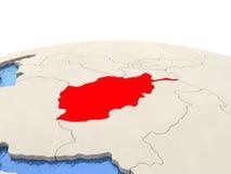 L'Afghanistan sur le globe avec les mers aqueuses Images libres de droits
