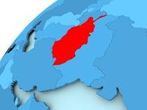 L'Afghanistan sur le globe bleu Image stock