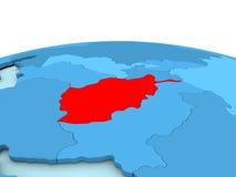L'Afghanistan sur le globe bleu Photos libres de droits