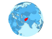 L'Afghanistan sur le globe bleu d'isolement Images stock