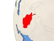 L'Afghanistan sur le globe 3D Images libres de droits