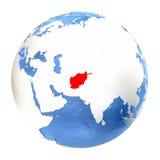 L'Afghanistan sur le globe d'isolement sur le blanc Photographie stock