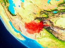 L'Afghanistan sur le globe de l'espace Images libres de droits