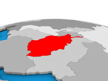 L'Afghanistan sur le globe en rouge Images libres de droits