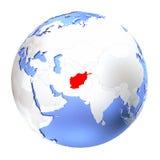 L'Afghanistan sur le globe métallique d'isolement Image libre de droits