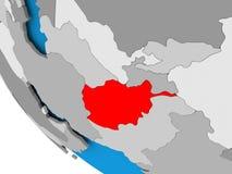 L'Afghanistan sur le globe politique Photographie stock