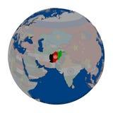 L'Afghanistan sur le globe politique Photos stock