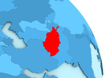 L'Afghanistan sur le globe politique bleu Photographie stock