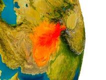 L'Afghanistan sur le modèle de la terre de planète Photo libre de droits