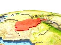 L'Afghanistan sur terre en rouge Photo stock