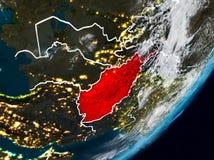 L'Afghanistan sur terre la nuit Illustration de Vecteur