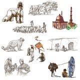 L'Afghanistan : Voyage autour du monde Une illustration tirée par la main Images stock