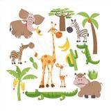 l'africa Animali e piante africani Insieme delle illustrazioni di vettore nello stile del fumetto illustrazione vettoriale