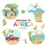 l'africa Animali e piante africani Insieme delle illustrazioni di vettore nello stile del fumetto royalty illustrazione gratis