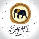 L'Africa e safari con il logo dell'elefante illustrazione vettoriale