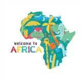 l'africa Mappe della siluetta di vettore del continente africano Animali africani illustrazione di stock