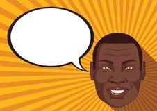 L'Africano con il fronte sorridente dice la bolla comica Royalty Illustrazione gratis