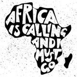 L'Afrique appelle et je dois aller Lettrage manuscrit en silhouette de continent Photos stock