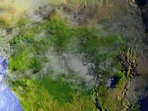 L'Afrique centrale la nuit sur le modèle réaliste de la terre Photo stock
