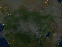 L'Afrique centrale la nuit sur terre de planète Image stock