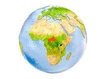 L'Afrique centrale sur le globe d'isolement Photo stock