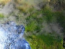 L'Afrique centrale sur terre la nuit - fond océanique évident Photographie stock libre de droits