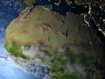 L'Afrique du Nord la nuit sur terre de planète Images stock
