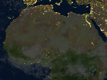 L'Afrique du Nord la nuit sur terre de planète Images libres de droits