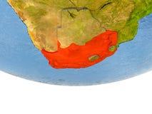 L'Afrique du Sud en rouge sur le modèle de la terre Photo libre de droits