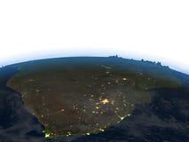 L'Afrique du Sud la nuit sur terre de planète Photo libre de droits