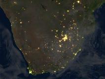 L'Afrique du Sud la nuit sur terre de planète Photographie stock libre de droits