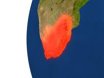 L'Afrique du Sud sur le globe illustration stock