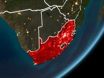 L'Afrique du Sud sur terre de nuit Image libre de droits