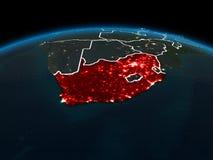 L'Afrique du Sud sur terre la nuit Photo stock