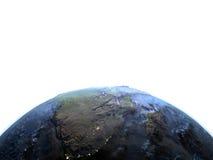 L'Afrique du Sud sur terre la nuit - fond océanique évident Image libre de droits