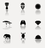L'Afrique, jungle, ensemble d'icône de la savane Image libre de droits
