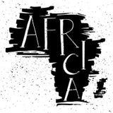 l'afrique Lettrage manuscrit en silhouette de continent Photo libre de droits