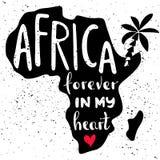 L'Afrique pour toujours à mon coeur Lettrage manuscrit en silhouette de continent Image libre de droits