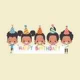L'Afro-Américain badine la bannière de joyeux anniversaire Photographie stock libre de droits