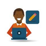 L'Afro-américain d'homme à l'aide de l'ordinateur portable écrivent l'icône Photo stock