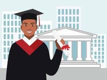 L'Afro-américain de garçon reçoit un diplôme dans le manteau contre Illustration Libre de Droits