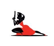 L'agente eccellente della donna In un vestito rosso con una pistola illustrazione di stock
