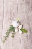 L'aglio fresco, il timo, l'alloro, rosmarino sopra wodden il fondo Fotografia Stock