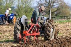 L'agricoltore anziano sul massey grigio fergusen il trattore alla partita d'aratura Immagine Stock
