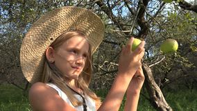 L'agricoltore Child nel meleto, assaggio della ragazza del paese fruttifica in albero al villaggio 4K stock footage