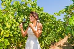 L'agricoltore della giovane donna assaggia un vetro di vino rosso Fotografie Stock