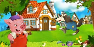 L'agricoltore di maiale di scena del fumetto vicino al villaggio tradizionale ed al lupo arrabbiato sta andando nella sua direzio illustrazione vettoriale