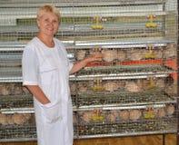 L'agricoltore femminile allegro mostra su una gabbia con le quaglie Fotografie Stock Libere da Diritti